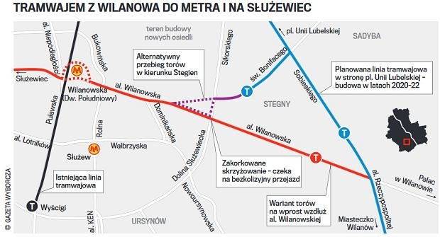 Wariant linii tramwajowej wzdłuż al. Wilanowskiej do metra i Służewca