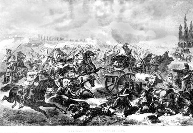 Pruska szarża na artylerię francuską w czasie bitwy pod Mars-la-Tour (16 August 1870)