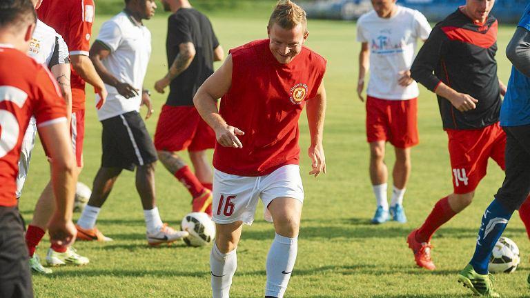 Adrian Budka na treningu Widzewa