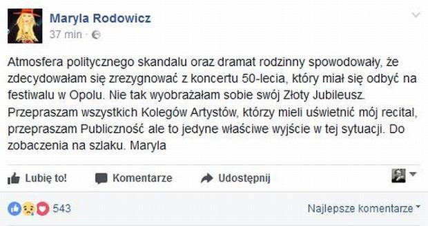 Zdjęcie numer 2 w galerii - Maryla Rodowicz rezygnuje z udziału w Opolu!