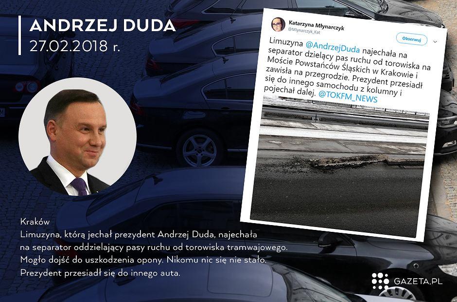 Kolizja limuzyny prezydenta w Krakowie