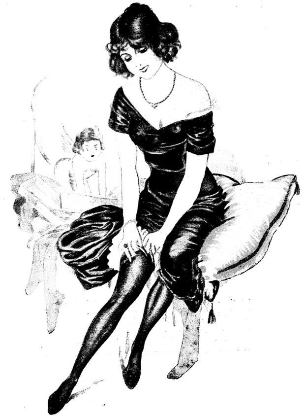 Dziewczyna z rozkładówki ?Dekameronu?, przedwojennego pisma erotycznego. Polska pin-up girl? Na zdjęciu ilustracja z ?Nowego Dekameronu?, 1924 r.