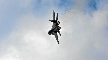 MiG-29 nad Góraszką. XV Międzynarodowy Piknik Lotniczy, 12 czerwca 2010 r.