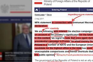 Nauczyciele angielskiego sprawdzili głośne oświadczenie MSZ ws. słów Macrona. Efekt?