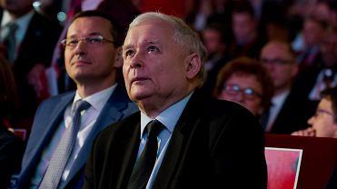 15.06.2016, Kraków, Jarosław Kaczyński, Mateusz Morawiecki i Jadwiga Emilewicz na kongresie 'Impact '16: 4.0 Economy'.