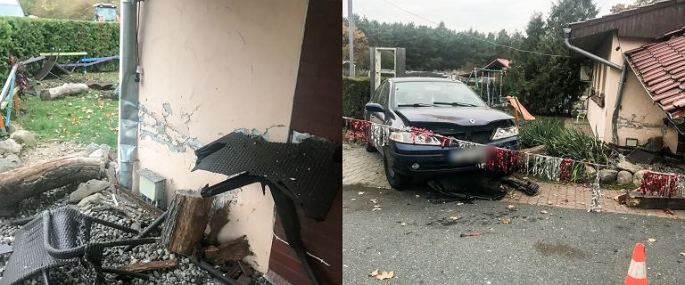 Łukomin. Stracił panowanie nad samochodem i wbił się w ganek zajazdu. Nie miał prawa jazdy