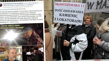 Wpis na Facebooku i protest lokatorów Skaryszewskiej 11 w 2016 r.