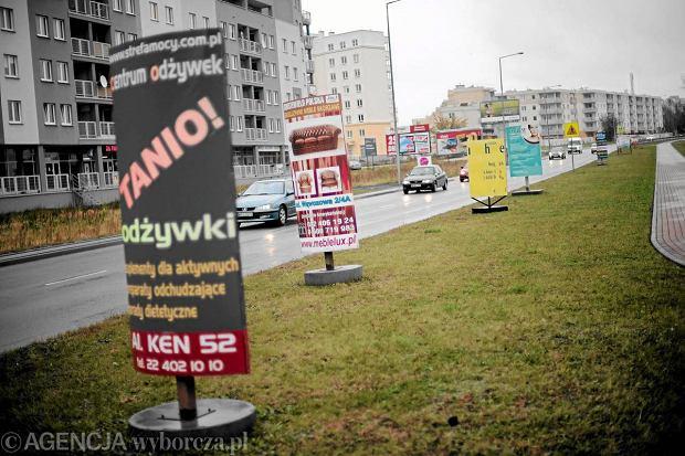 21.10.2009 WARSZAWA , NIELEGALNE REKLAMY WZDLUZ ULICY PLASKOWICKIEJ .  FOT. FILIP KLIMASZEWSKI / AGENCJA GAZETA  SLOWA KLUCZOWE:  REKLAMA ULICA DROGA TRAWNIK