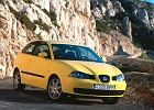 SEAT Ibiza 02-10, rok produkcji 2002, coupe, widok przedni prawy, samochód 3-drzwiowy, kolor żółty