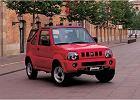 SUZUKI Jimny, rok produkcji 2000, softtop, widok przedni prawy, samoch�d 2-drzwiowy, kolor czerwony jasny