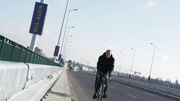 Rowerzysta na moście Północnym