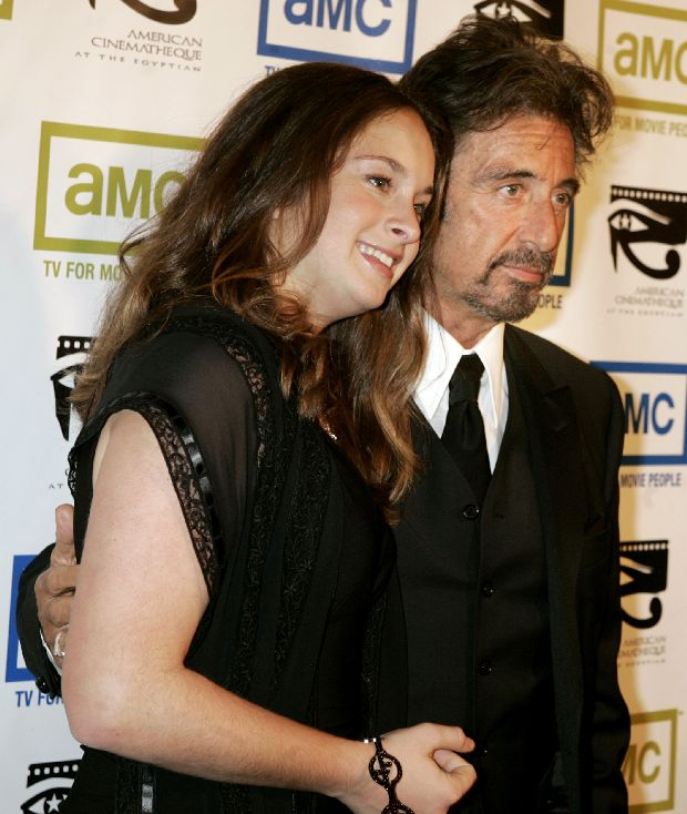 Actor Al Pacino and his daughter Julie arrive at the 20th annual American Cinematheque Award gala honoring Pacino, in Beverly Hills October 21, 2005. Pacino is this year's award recipient for his significant contribution to the art of the moving picture. The benefit event will broadcast on AMC on January 22, 2006. REUTERS/Fred Prouser