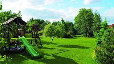 Grupy roślin ozdobnych rozmieszczono na obrzeżach trawnika. Dzięki temu dzieci mają duży teren do zabawy. A w przyszłości w miejscu zjeżdżalni, drabinki do wspinania i piaskownicy będzie można utworzyć nowe rabaty