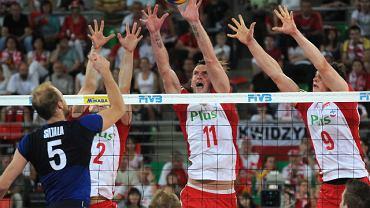 W bloku Grzegorz Łomacz (2), Łukasz Kadziewicz (11), Zbigniew Bartman (9). Atakuje Antti Siltala (5).