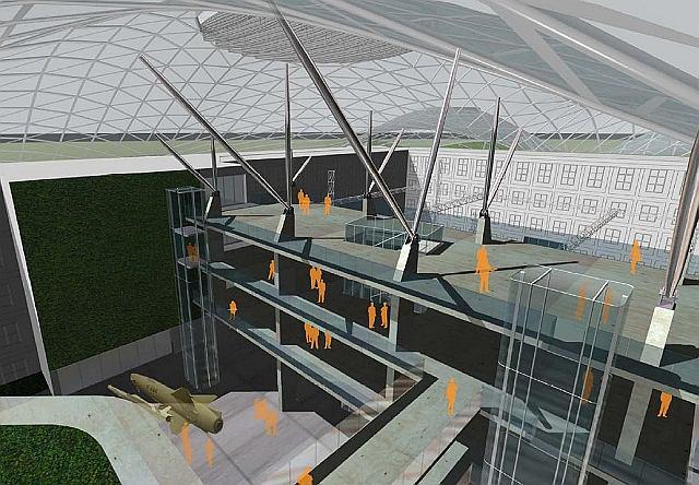 Ogromny dziedziniec Wojskowej Akademii Technicznej byłby przykryty szklanym pofałdowanym dachem