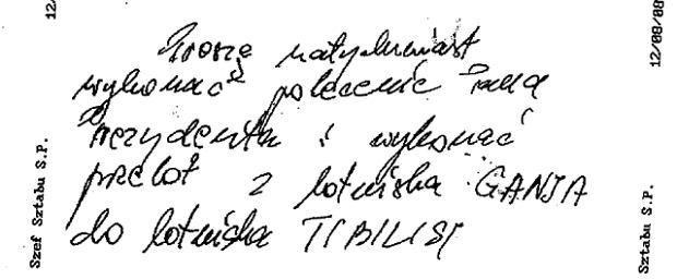 """""""Wykona� polecenie pana prezydenta"""". """"GW"""" ujawnia notatk� s�u�bow� po tzw. incydencie gruzi�skim"""