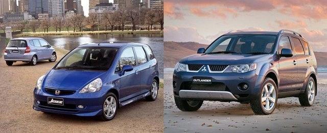 Honda Jazz i Mitsubishi Outlander