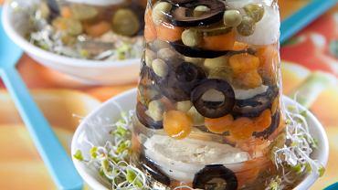 Galaretki z jajkami przepiórczymi i warzywami