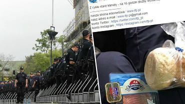 Policjanci podczas protestu w okolicy Sejmu