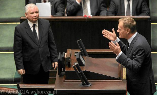 Jaros�aw Kaczy�ski i Donald Tusk w Sejmie