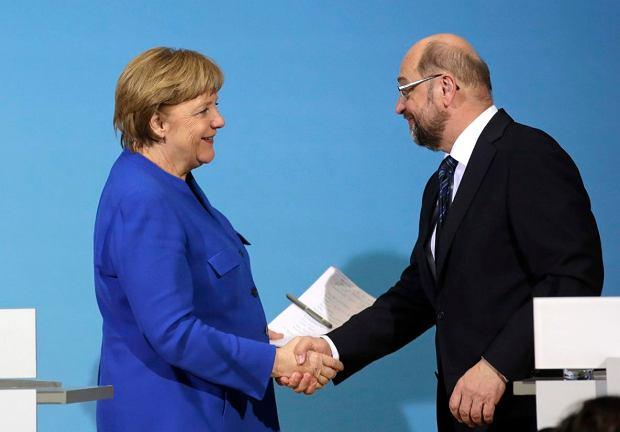 Kanclerz Angela Merkel i szef SPD Martin Schulz. Berlin, 12 stycznia 2018 r.