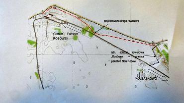 Plan łącznika po polskiej stronie granicy do granicy państwa i trasy niemieckiej