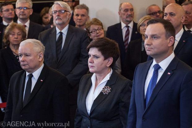 Jaroslaw Kaczynski , premier Beata Szydło i prezydent Andrzej Duda