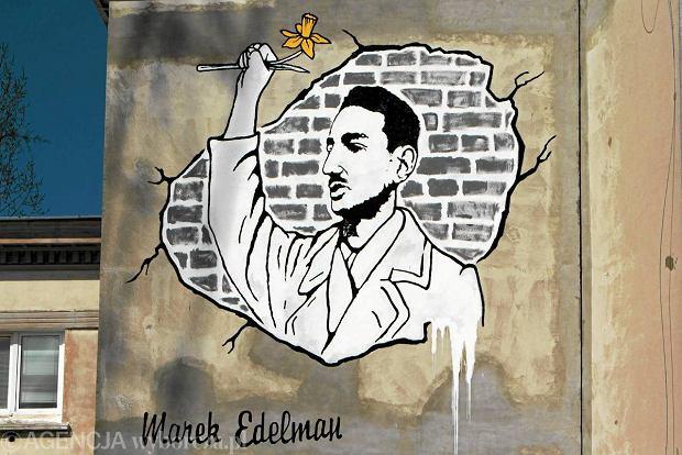 Mural na cze�� Marka Edelmana na warszawskim Muranowie
