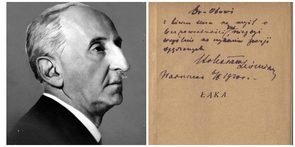 Autograf poety w tomiku ''Łąka'' (fot. Narodowe Archiwum Cyfrowe / Wikimedia.org / domena publiczna)