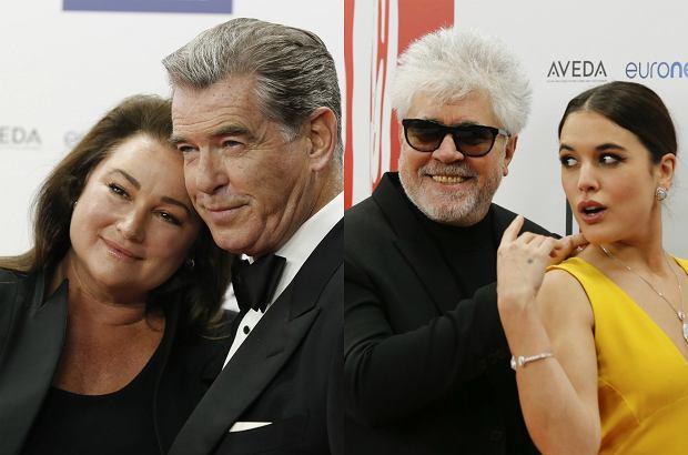 Zdjęcie numer 0 w galerii - Pierce Brosnan z żoną, Almodovar poprawia sukienkę aktorce, tłum polskich gwiazd. Czerwony dywan Europejskich Nagród Filmowych