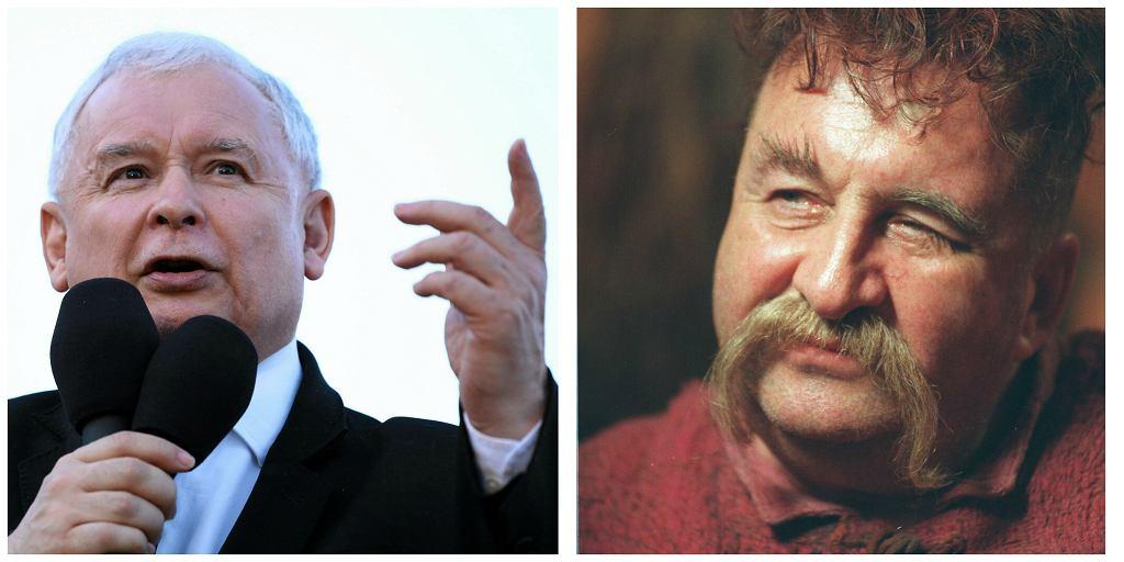 Z lewej Jarosław Kaczyński, z prawej sienkiewiczowski pan Zagłoba w interpretacji Krzysztofa Kowalewskiego (fot. Adam Stępień/Marzena Hmielewicz/AG)