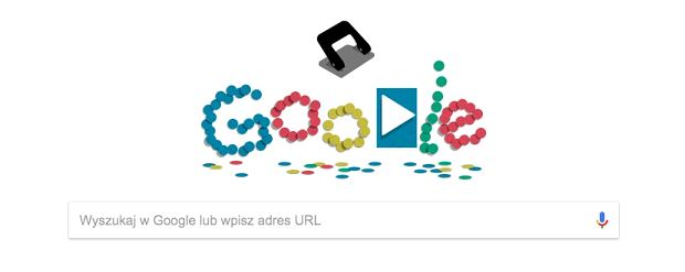 Google Doodle na 14 listopada - 131. rocznica opatentowania dziurkacza