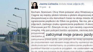 Joanna Lichocka straci�a prawo jazdy. I og�osi�a to na FB - wraz z opisem