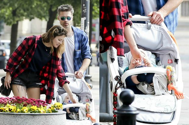Zdjęcie numer 6 w galerii - Maciej Zakościelny na spacerze z dzieckiem i partnerką. Syn aktora ma piękny wózek. Jest ekologiczny. I NIEDROGI!