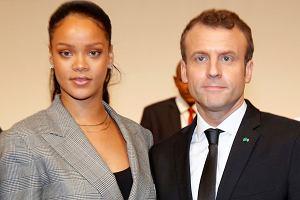 Rihanna i Emmanuel Macron na charytatywnym spotkaniu w Dakarze