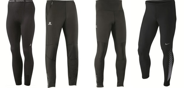 Od lewej: Adidas Techfit Climawarm - 199 zł, Salomon Trail Runner Warm -  299 zł, Salomon Wind Stopper Trail Tight - 439 zł, Nike Reflective Tight - 299 zł