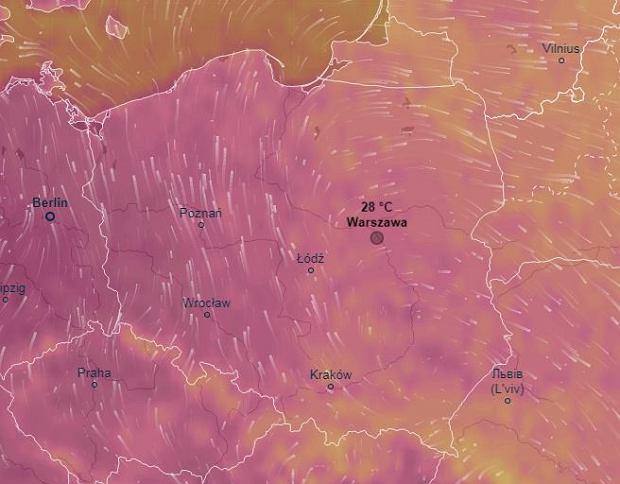 Im ciemniejszy kolor, tym wyższa temperatura. Na zachodzie kraju we wtorek może być nawet 33 stopnie