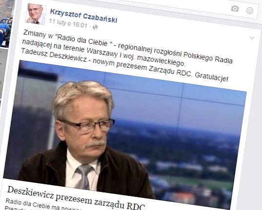 Facebookowy wpis Krzysztofa Czabańskiego