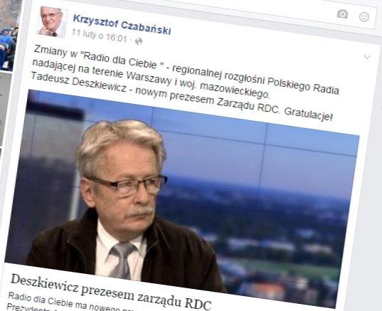 Facebookowy wpis Krzysztofa Czaba�skiego