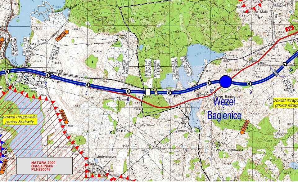 Przebieg przyszłej trasy S16 Borki-Wielkie-Mrągowo