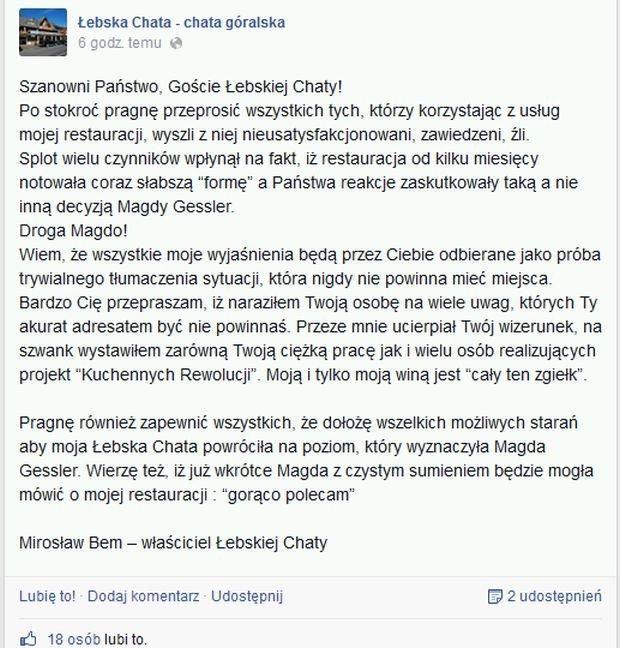 Właściciel Łebskiej chaty przeprasza