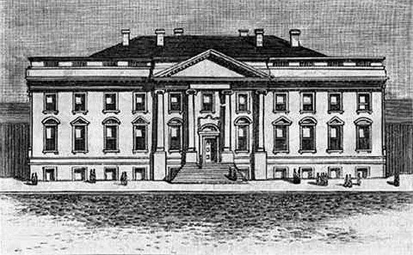 Rysunek przedstawiający Biały Dom około 1800 roku (The original design of the White House, 1800)