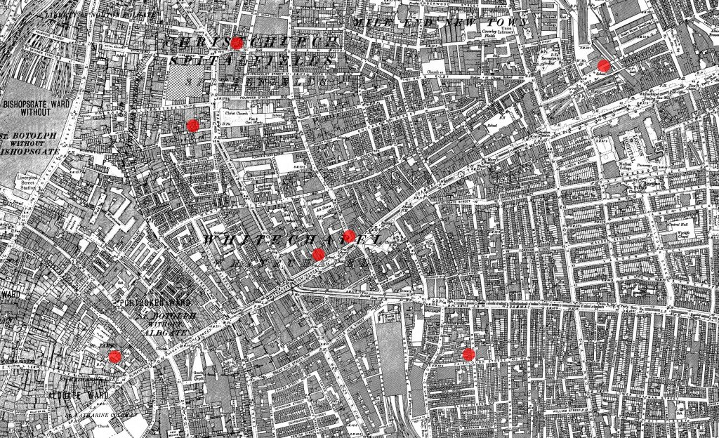 Mapa przedstawiająca miejsce dokonania siedmiu pierwszych morderstw przypisywanych Kubie Rozpruwaczowi (fot. Ordnance Survey / wikimedia.org / public domain)