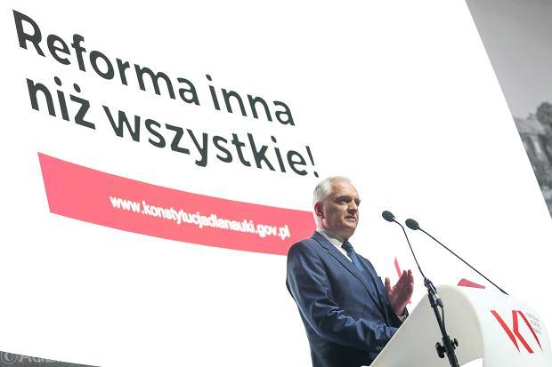 Minister nauki i szkolnictwa wyższego w rządzie PiS Jarosław Gowin podczas Narodowego Kongresu Nauki. Kraków, 19 września 2017