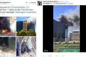 Ogromny pożar przy basenie na 14. piętrze hotelu w Las Vegas. Gasiło go 35 jednostek straży pożarnej [ZDJĘCIA I WIDEO]