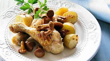 Kurczak pieczony na kurkach