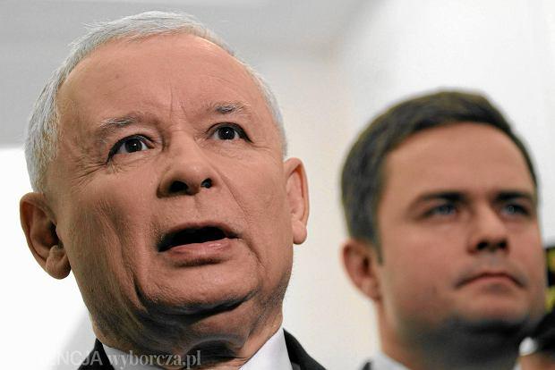 Prezes PiS Jarosław Kaczyński i rzecznik PiS Adam Hofman