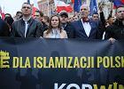 Liderzy partii KORWiN na demonstracji antyimigranckiej