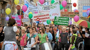 Demonstracja zwolenników ustawy o związkach partnerskich we Wrocławiu