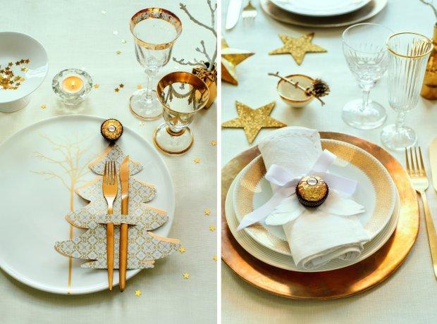 Złote dekoracje świąteczne na Boże Narodzenie
